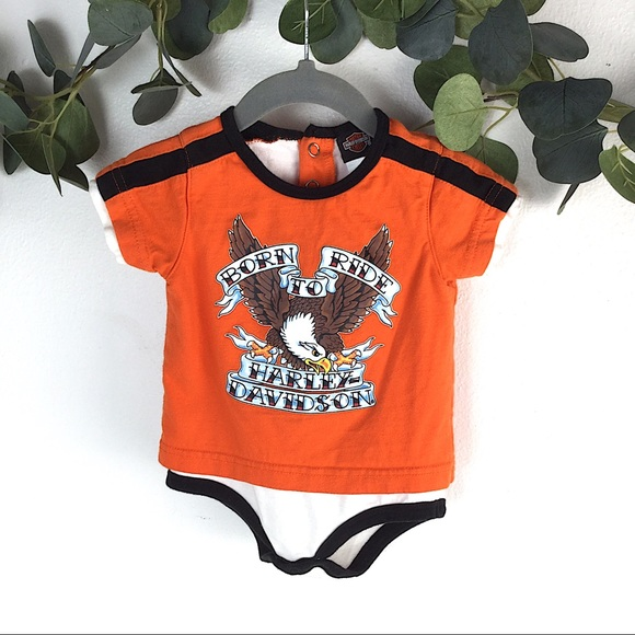 Harley Davidson Baby Bodysuit Infant Gift Unisex Clothes One Piece Grow Black
